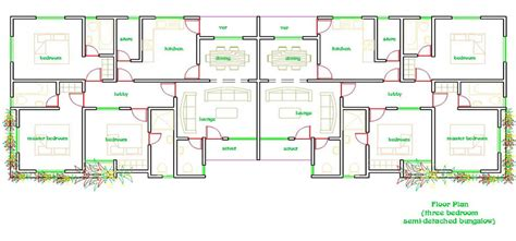 three bedroom semi detached house plan semi detached house plans ghana