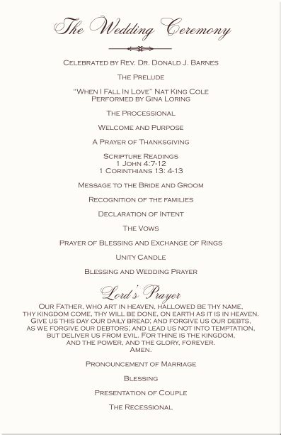 wedding blessing order of service template wedding blessing order of service template new order