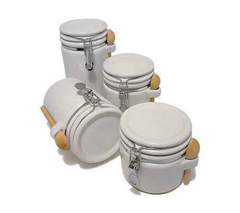 4 piece kitchen canister sets 4 piece white stoneware kitchen canister set qvc com