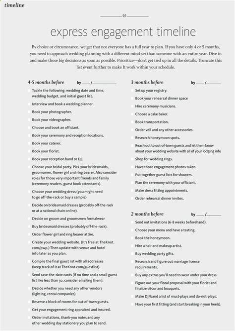printable 5 month wedding checklist express engagement 4 5 month planning checklist for