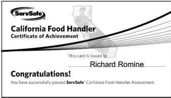 free certification food handling certificate free
