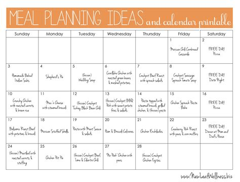 meal plan calendar new calendar template site