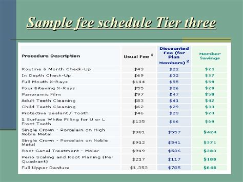 fee schedule template complete care plus template