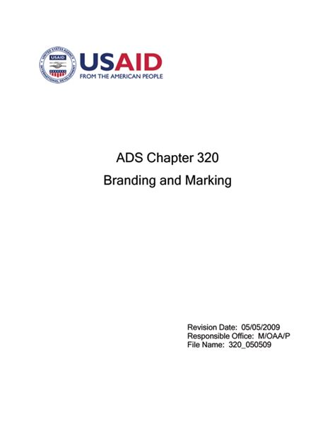 Ads Chapter 320 U S Agency For International Development Usaid Branding And Marking Template