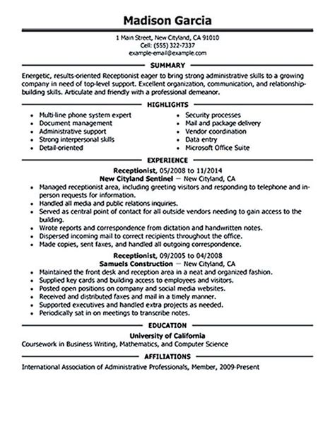 Receptionist Resume Objective by Receptionist Resume Objective Receptionist Resume Is