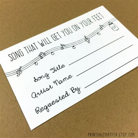 Wedding Card On Song by Wedding Song Request Card Design 1 Rustic Jar