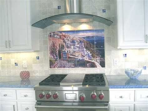 kitchen backsplash mural backsplash designs tuscan waterview tiles view of santorini tile mural