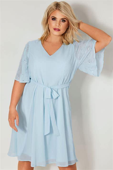 Embelished Bow Dress Minimal yours light blue sequin embellished dress with