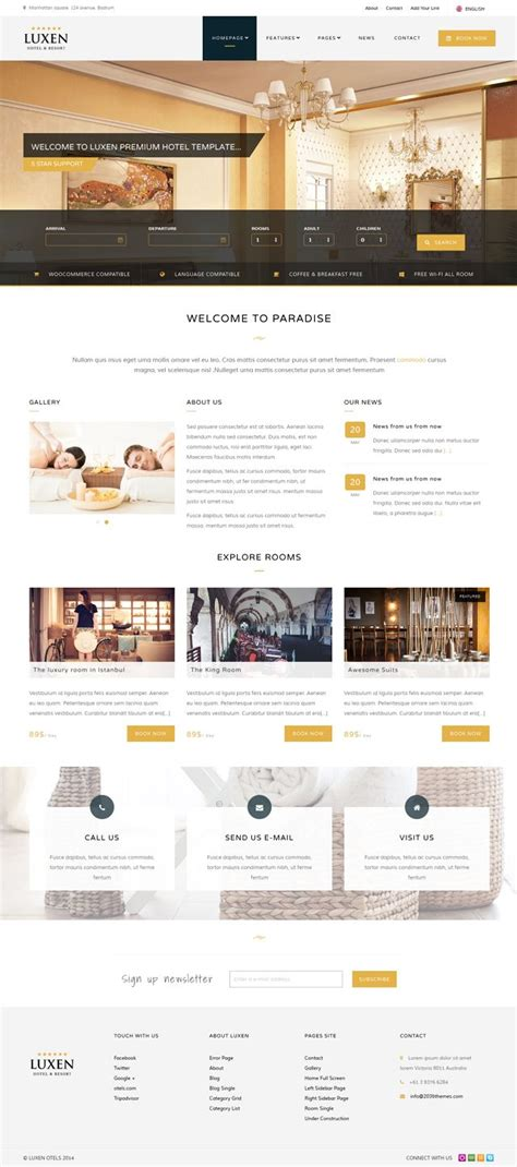 pinterest layout with bootstrap luxen premium hotel bootstrap template website design