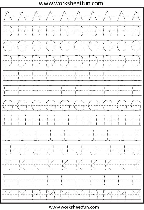 printable tracing letters a z worksheets