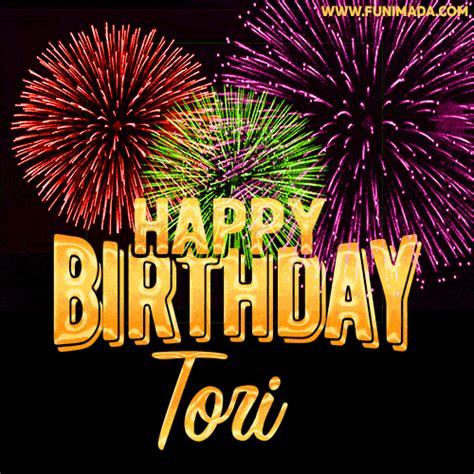 wishing   happy birthday tori  fireworks gif animated greeting card
