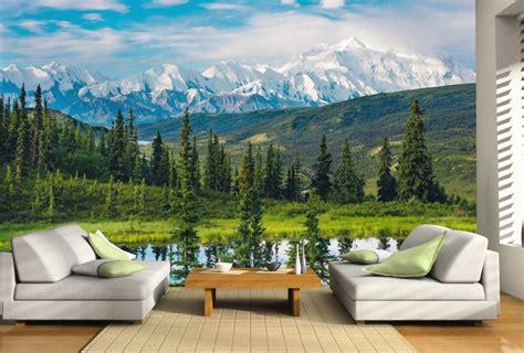 wallpaper dinding gambar alam wallpaper dinding 3d motif pegunungan dan pepohonan