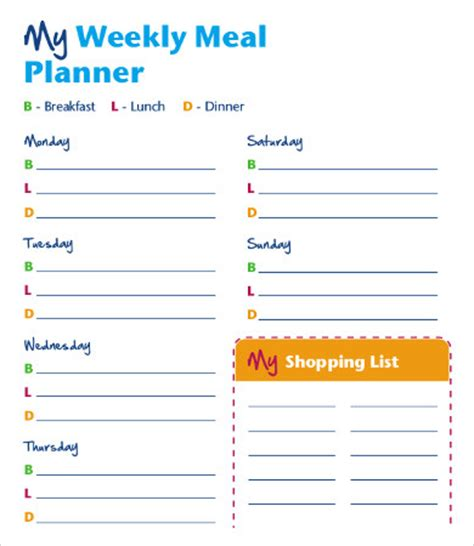 bi weekly meal planner template 9 weekly meal planner template free sle exle
