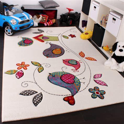 teppich kinder kinder teppich vogel design creme blau orange gr 252 n