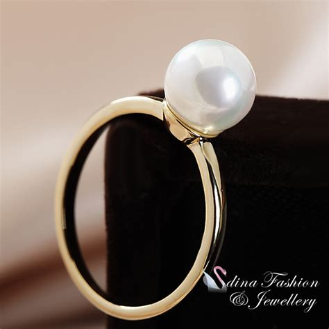 Fashion Ring 822 18k yellow gold plated single simulated pearl ring fashion