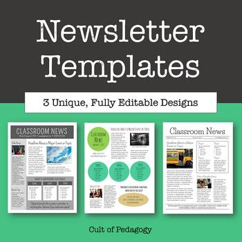 Newsletter Templates Editable By Cult Of Pedagogy Tpt Newsletter Template Powerpoint