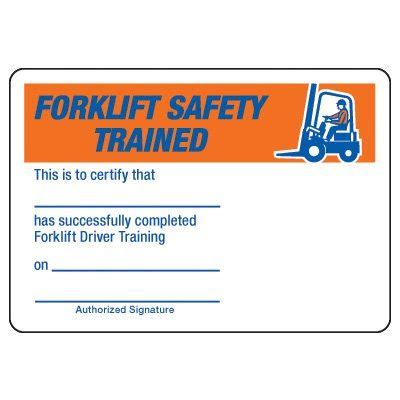 Certification Photo Wallet Cards Forklift Safety Driver Seton Forklift Card Template