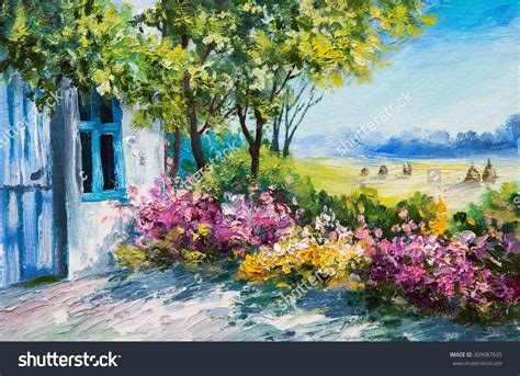 fiori gardens painting landscape garden near the house colorful