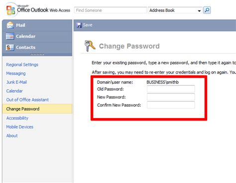 how to change your business password using outlook web