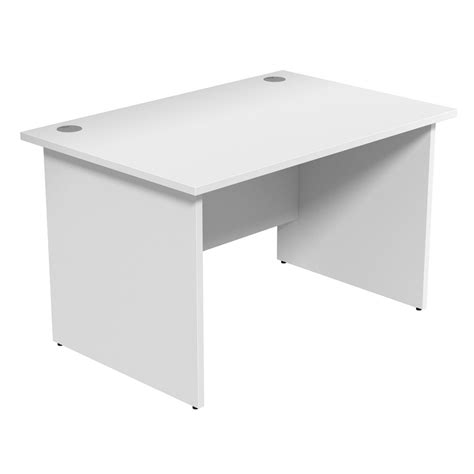 white desks aof white office desks on cantilever frame