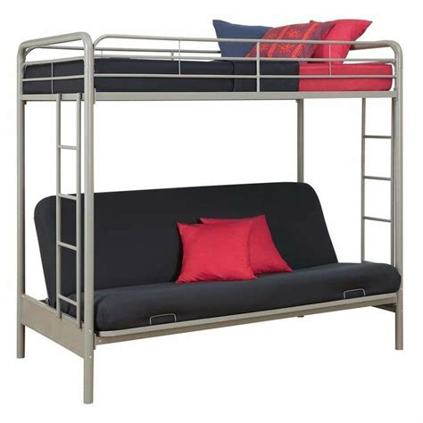 metal futon dhp futon metal bunk bed in silver ebay