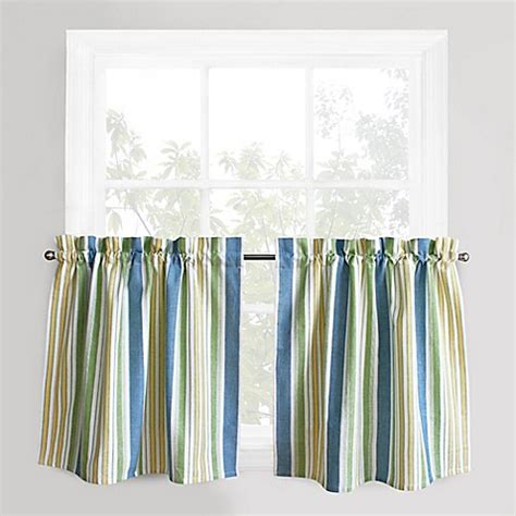 Blue And Green Kitchen Curtains Park B Smith Cape Cod Stripe Window Curtain Tier Pair In Blue Green Bed Bath Beyond