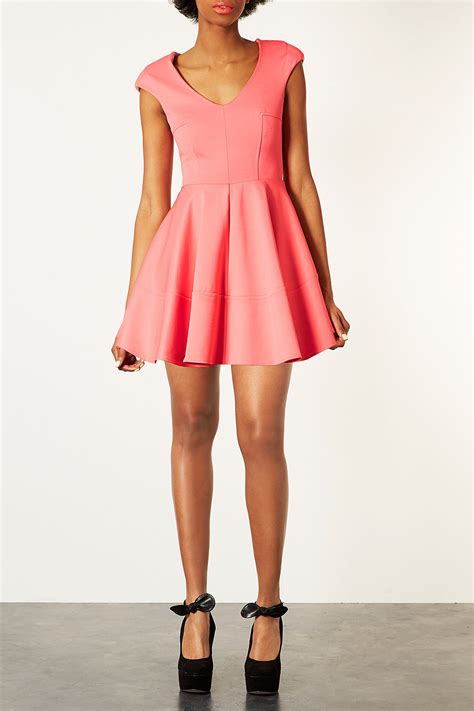 Topshop Vs by Topshop Ribbed V Front Skater Dress In Pink Lyst