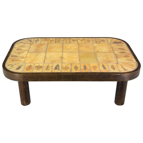 Tile Coffee Tables Roger Capron Ceramic Tile Top Coffee Table For Sale At 1stdibs