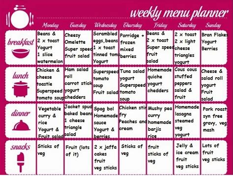 slimming world meal planner template slimming world meal planner template 28 images meal