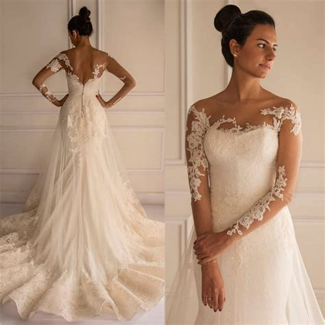 appliques for wedding dresses chic lace appliques mermaid tulle wedding dress 2016 court