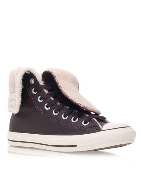 converse chuck knee high sneaker lyst converse brown chuck knee hi shearling