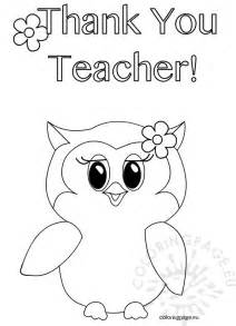 coloring pages for teachers thank you owl coloring page coloring page