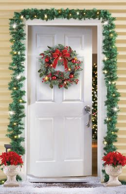 sears outdoor lighted christmas garland solar lighted outdoor garland from collections etc