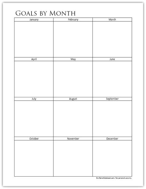 goals month printable organized planners