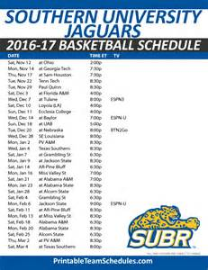 Jaguar Schedule Printable Southern Basketball Schedule 2016 17