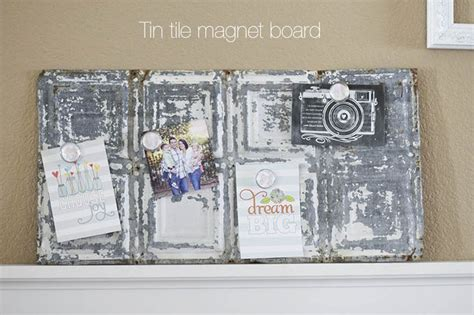 tin tile magnet board diy shabby chic modpodge home