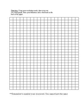 vocabulary blank crossword puzzle template  chastity