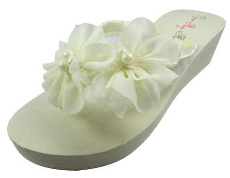 Flower Flip Flops wedding flip flops with chiffon pearl flowers