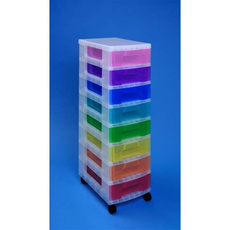 staples drawer organizer uk really useful box storage tower clear with 8 x 7 l drawers