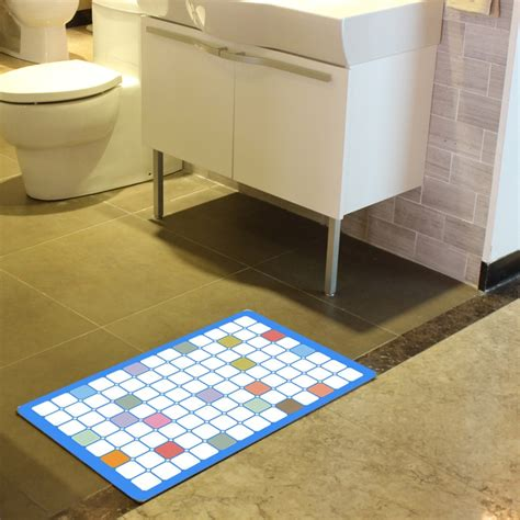 Bright Grid Printing Bathroom Rugs Modern Bathroom Rugs Bright Bathroom Rugs