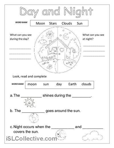 classification pattern english day and night printable worksheets for kindergarten 1