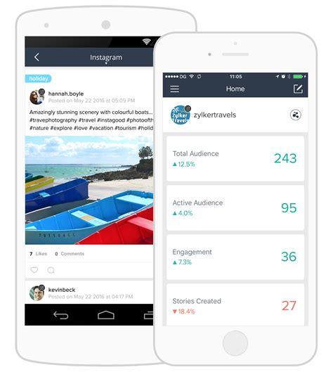 mobile zoho zoho social a int 233 gr 233 instagram vivasoft revendeur
