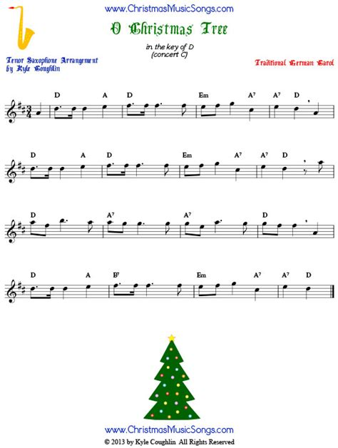 o christmas tree for tenor sax free sheet music