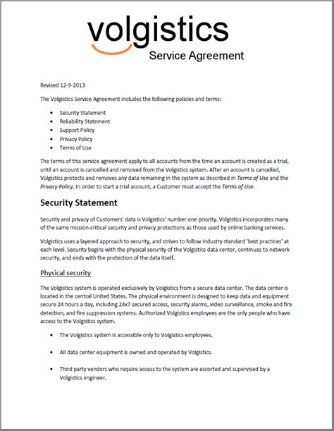 provision of services agreement template volgistics terms of use