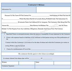 liability form template contractor liability release form sle forms