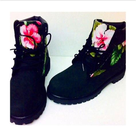 colorful timberland boots shoes flowers flowerly black timberlands timberland