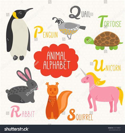 animal alphabet letters q u vector vectores en stock alphabet animals letters p q vectores en stock