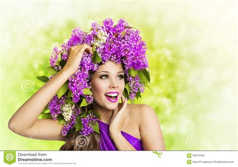 Woman Lilac Flower, Fashion Girl Beauty Face Makeup Portrait Stock Photo   Image: 56016464