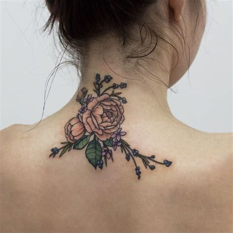 tattoo flower neck flowers tattoo on the back of neck for girl tattoo