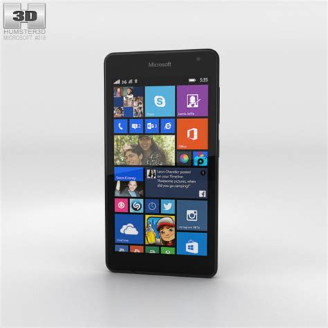 Microsoft Lumia 535 Black microsoft lumia 535 black 3d model humster3d